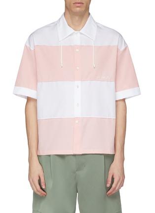 Main View - Click To Enlarge - Feng Chen Wang - Drawstring collar stripe short sleeve shirt
