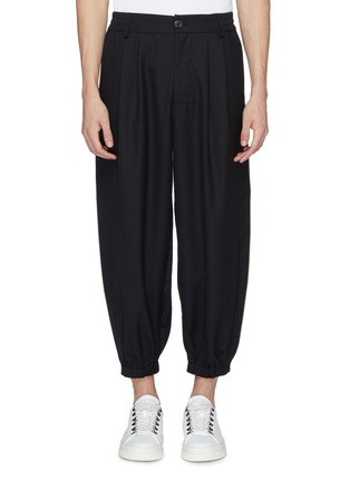 Main View - Click To Enlarge - Feng Chen Wang - Contrast piping tapered leg gabardine pants
