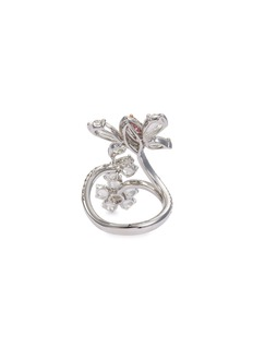LC Collection Jewellery Diamond 18k gold butterfly floral spiral ring