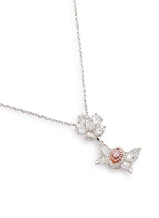 LC Collection Jewellery Diamond 18k gold butterfly floral pendant necklace