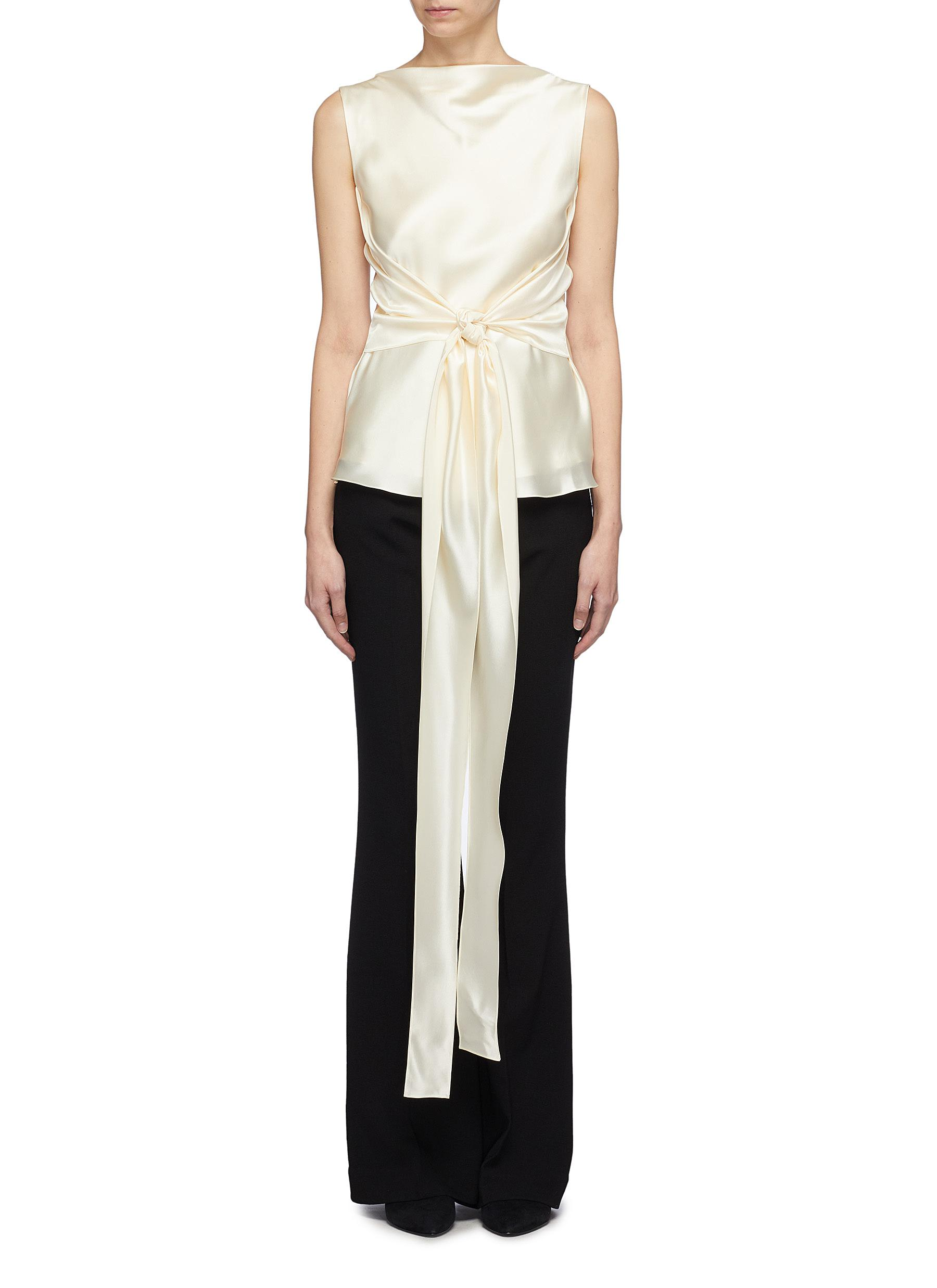 Kennedy sash tie waist silk satin top by Alex Eagle