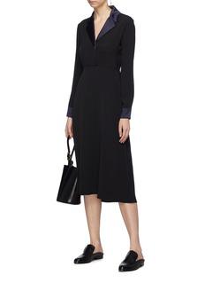 Alex Eagle Contrast lapel silk satin tuxedo dress