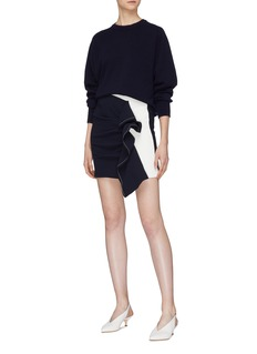Comme Moi Asymmetric ruffle drape skirt