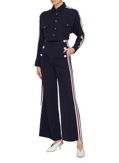 Comme Moi Stripe outseam button twill wide leg pants