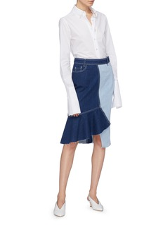 Comme Moi Contrast topstitching ruffle drape patchwork denim skirt