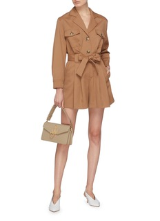 Comme Moi Belted chest pocket garbadine rompers
