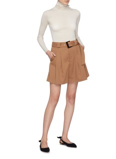 Comme Moi Belted pleated gabardine shorts