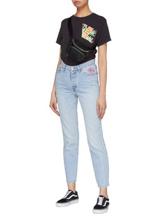 Atelier & Repairs Graphic embroidered frayed cuff unisex jeans