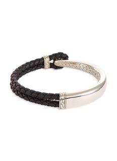 John Hardy 'Classic Chain' silver half cuff braided leather bracelet