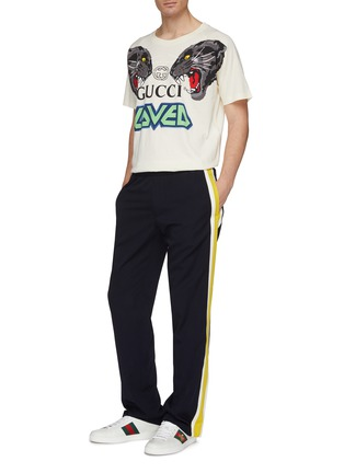 Figure View - Click To Enlarge - Gucci - 'Loved' slogan logo tiger print raglan T-shirt