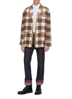 Gucci Belted tartan plaid wool blazer
