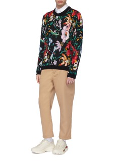Gucci Pig patch bugle bead floral jacquard sweater