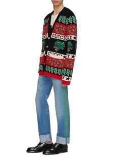 Gucci Fold cuff web stripe outseam jeans