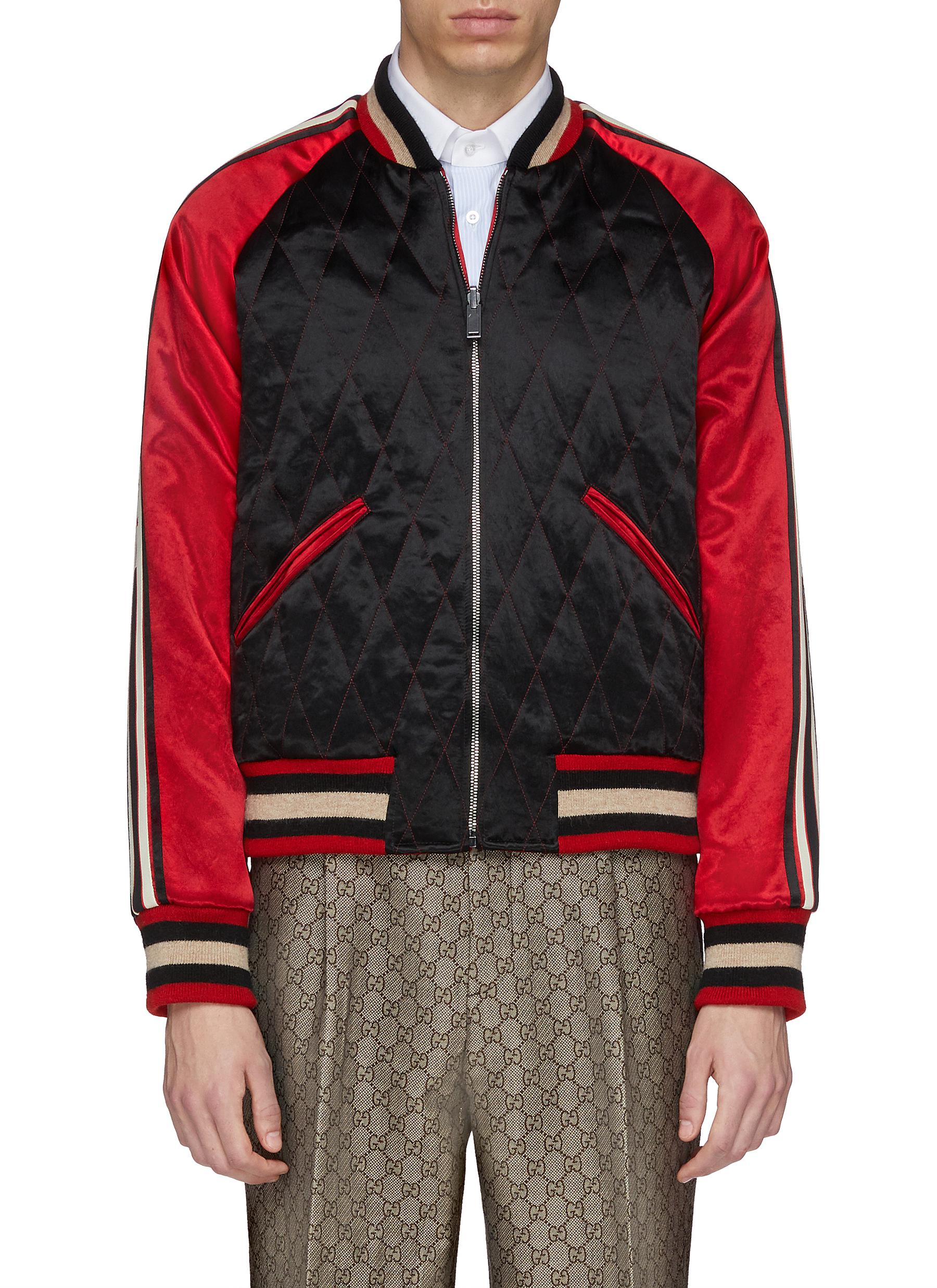 326ed2205 GUCCI. Reversible logo stripe sleeve colourblock quilted bomber jacket