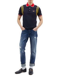 Gucci Bee appliqué stripe trim polo shirt