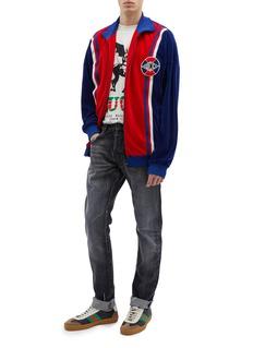 Gucci Sylvie Web stripe colourblock oversized velvet track jacket