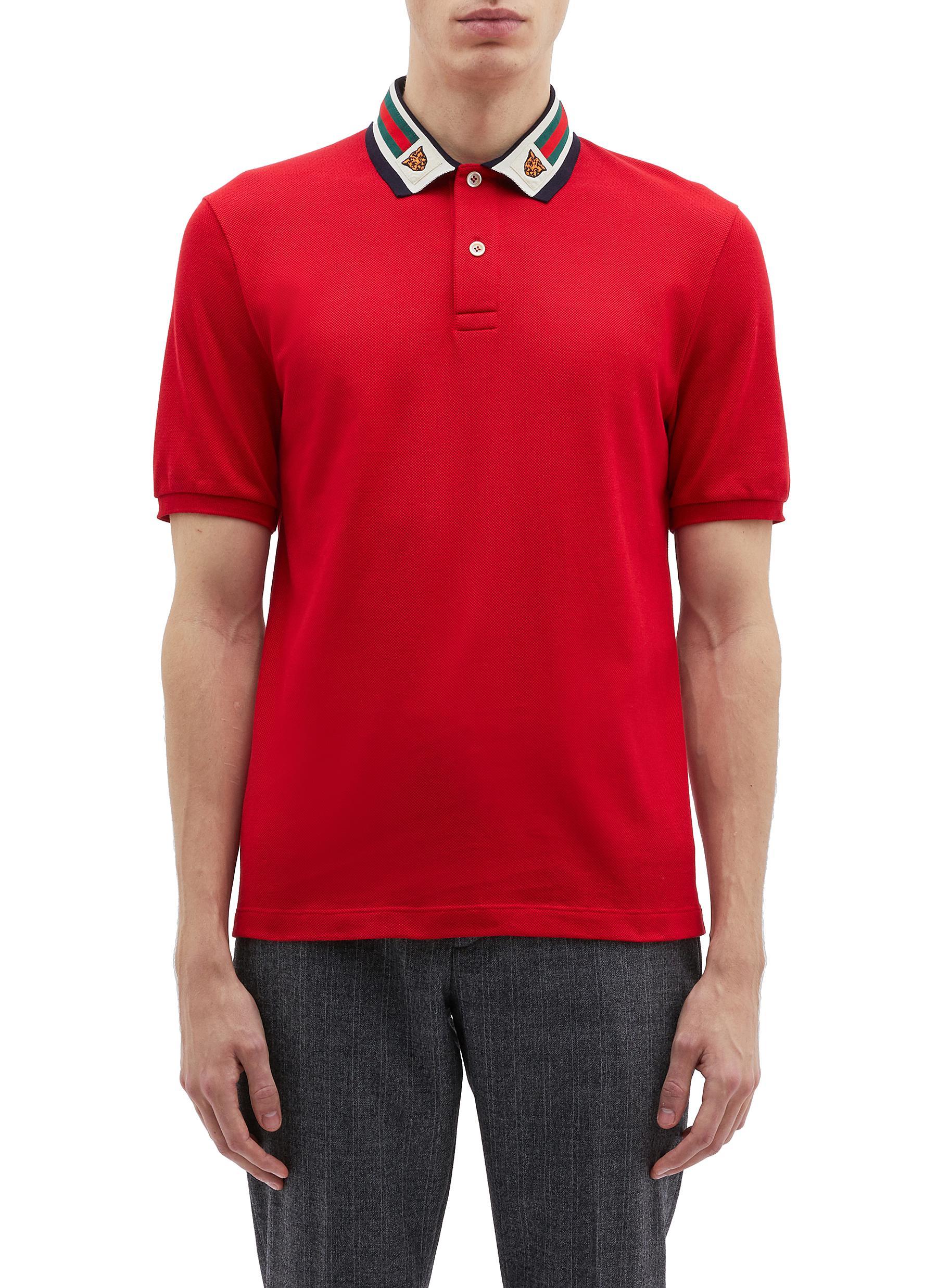 a45d626a1 GUCCI | Tiger embroidered Web stripe collar polo shirt | Men | Lane ...