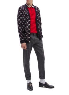 Gucci Tiger embroidered Web stripe collar polo shirt