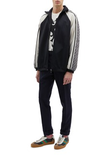Gucci GG logo panel sleeve colourblock oversized track jacket