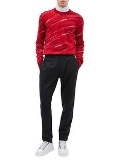 Balenciaga Logo stripe jacquard virgin wool blend sweater