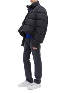 Balenciaga Retractable hood logo print cropped puffer jacket