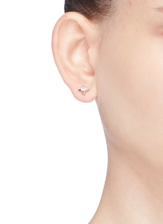 HEFANG 'Quill' cubic zirconia silver mismatched stud earrings