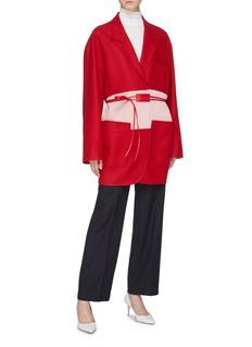 Victoria Beckham Belted colourblock virgin wool twill coat