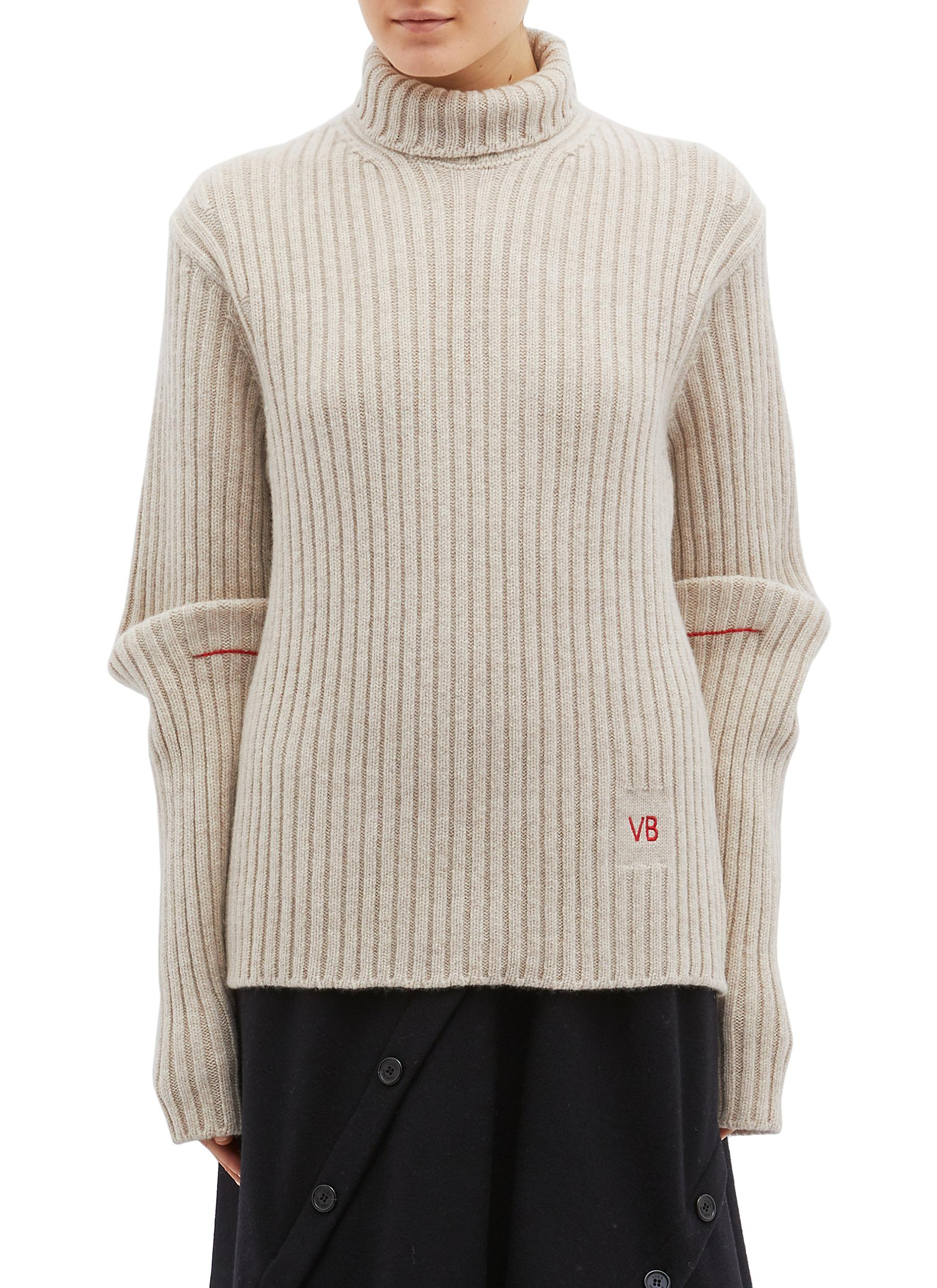 Folded sleeve wool rib knit sweater by Victoria Beckham