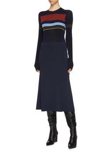 Victoria Beckham Flared rib knit midi skirt