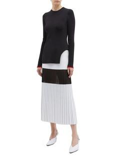 Victoria Beckham Curved hem knit long sleeve top