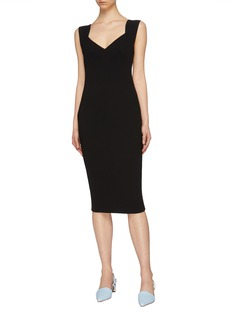 Victoria Beckham Zip back crepe V-neck dress