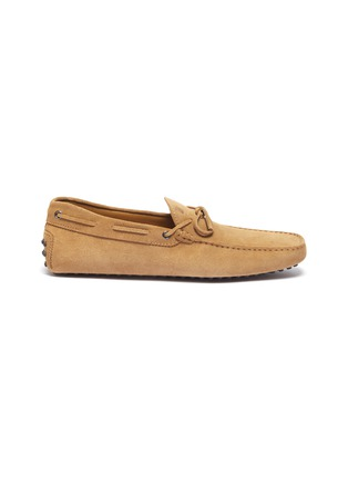 Main View - Click To Enlarge - TOD'S - 'Gommino' tie suede driving shoes
