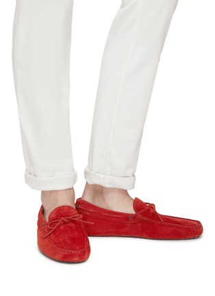Figure View - Click To Enlarge - TOD'S - 'Gommino' tie suede driving shoes