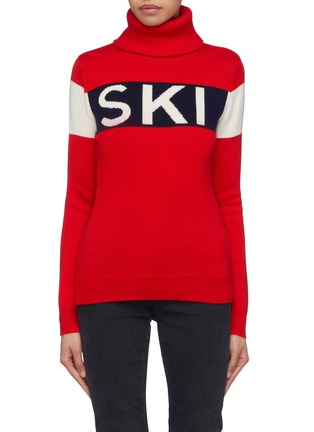 Main View - Click To Enlarge - Perfect Moment - 'Ski' slogan intarsia colourblock Merino wool turtleneck sweater