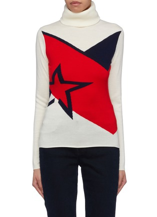 Main View - Click To Enlarge - Perfect Moment - 'Super Day' star intarsia colourblock turtleneck sweater