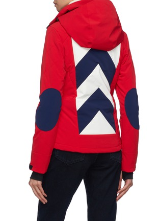 Back View - Click To Enlarge - Perfect Moment - 'Tignes' detachable hood chevron stripe ski jacket
