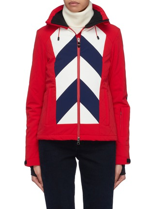 Main View - Click To Enlarge - PERFECT MOMENT - 'Tignes' detachable hood chevron stripe ski jacket