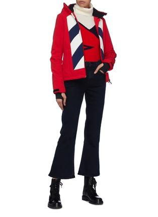 Figure View - Click To Enlarge - Perfect Moment - 'Tignes' detachable hood chevron stripe ski jacket