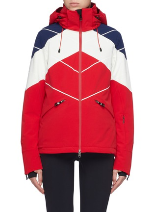 Main View - Click To Enlarge - PERFECT MOMENT - 'Chamonix' detachable hood colourblock PrimaLoft® ski down jacket