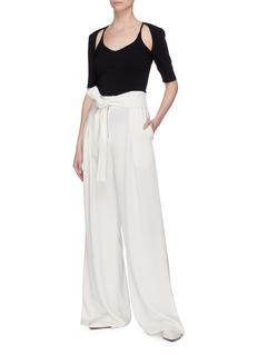 Proenza Schouler Belted drape crepe wide leg pants