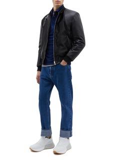 Alexander McQueen Belted leather panel bomber jacket