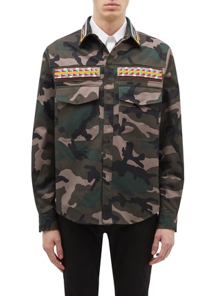 Main View - Click To Enlarge - Valentino - Beaded stripe camouflage print field jacket