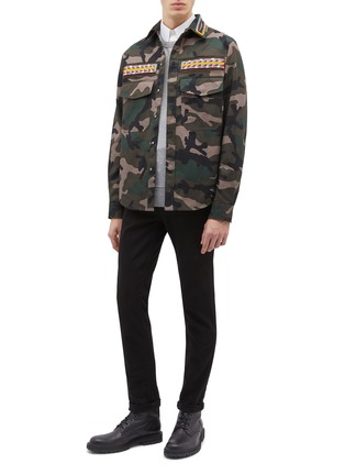 Figure View - Click To Enlarge - Valentino - Beaded stripe camouflage print field jacket