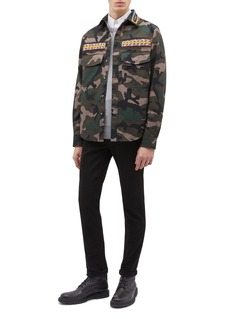 Valentino Beaded stripe camouflage print field jacket