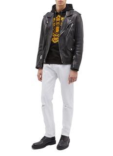Versace Ripped slim fit knee jeans