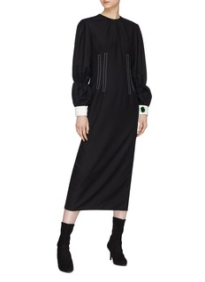 YCH Puffed sleeve contrast topstitching darted dress