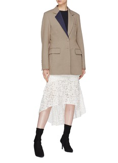 YCH Floral appliqué mesh high-low skirt
