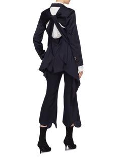 YCH Twist cutout ruffle drape back blazer