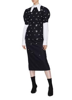 YCH Puff shoulder embellished melton V-back dress