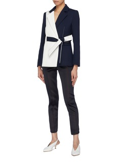 COMME MOI Belted colourblock blazer